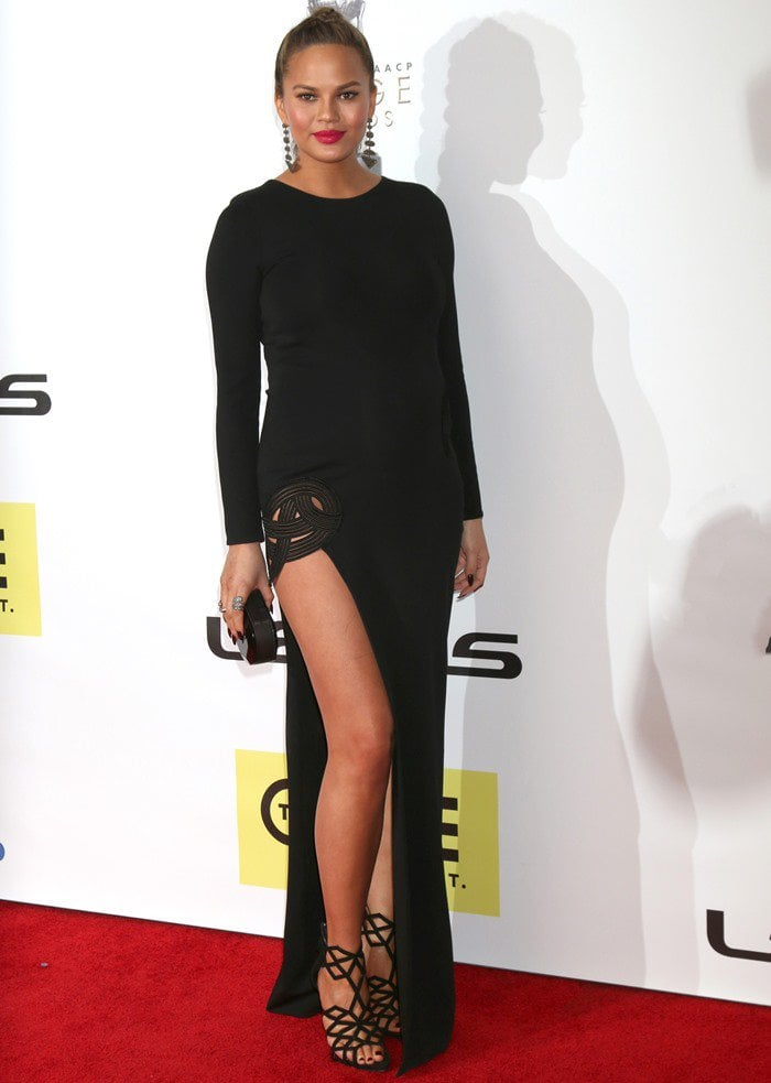 Chrissy Teigen wears her hair up at the 47th annual NAACP Image Awards