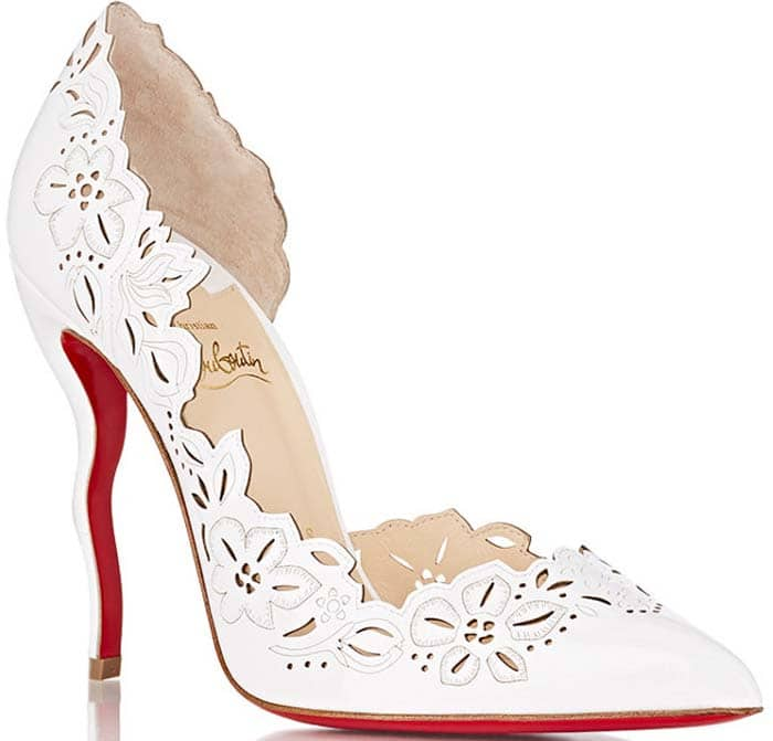 Christian Louboutin 'Beloved' Laser-Cut Patent Red Sole Pump in White