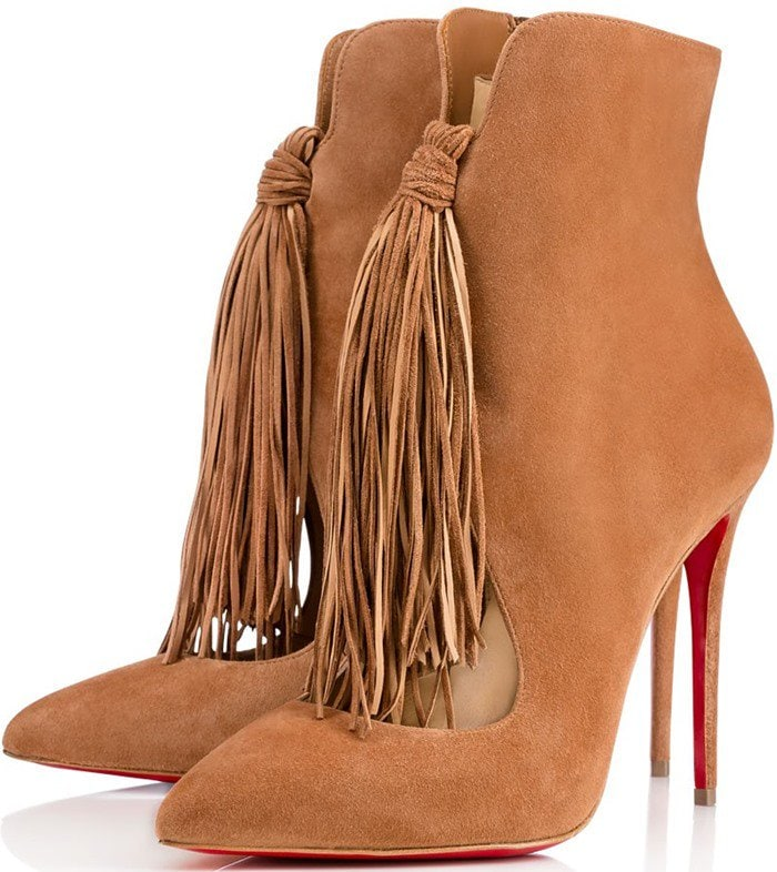 Christian Louboutin Fringed Suede Booties in noisette