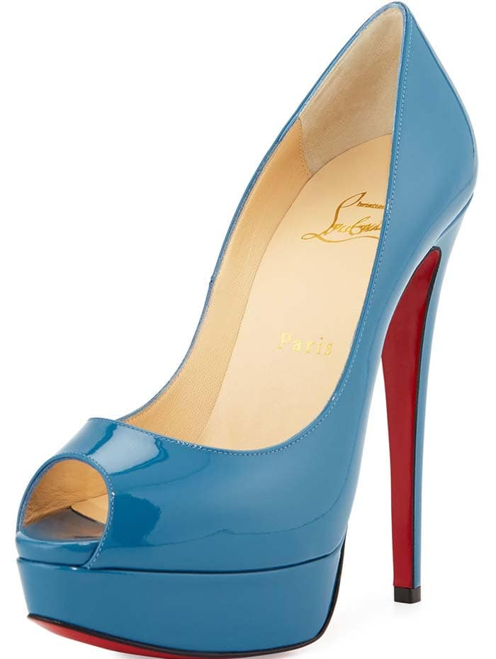 Christian Louboutin 'Lady Peep' Patent Red Sole Pump in Blue