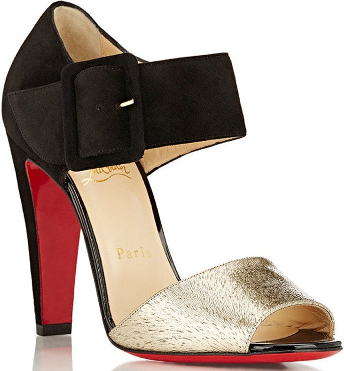 Christian Louboutin Trezotro Buckle-Strap Sandals in Gold