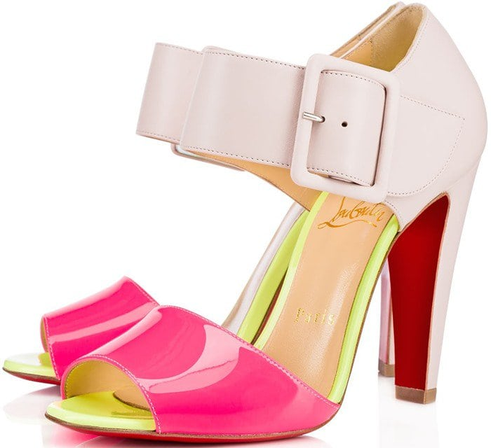 Christian Louboutin Trezotro Buckle-Strap Sandals in Patent
