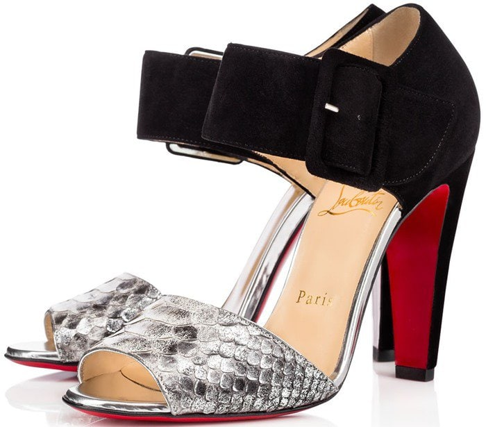 Christian Louboutin Trezotro Buckle-Strap Sandals in Python