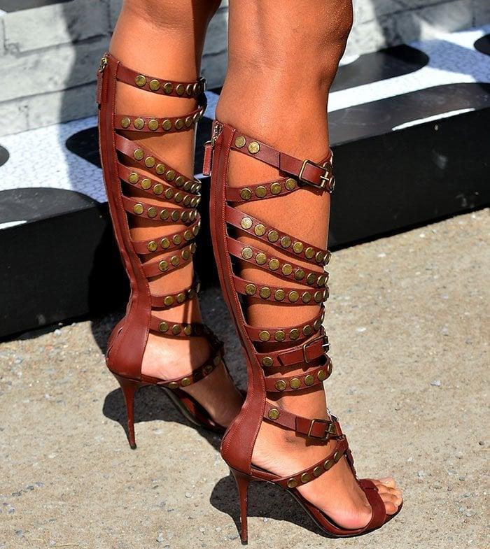Ciara's feet in studded Giuseppe Zanotti gladiator sandals