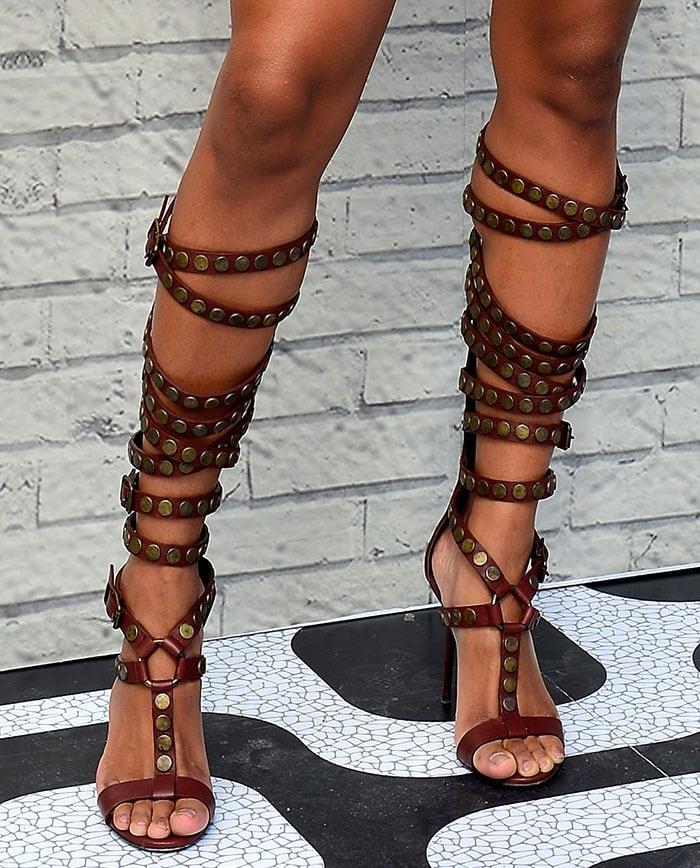 Ciara's feet in leather Giuseppe Zanotti gladiator sandals