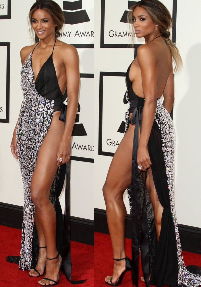 Ciara wears a skin-bearing Alexandre Vauthier dress on the red carpet of the Grammys