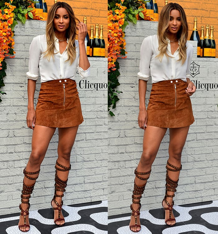 Ciara shows off her legs in a brown suede mini skirt