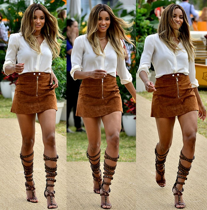 Ciara wears her hair down and shows off her legs in Miami