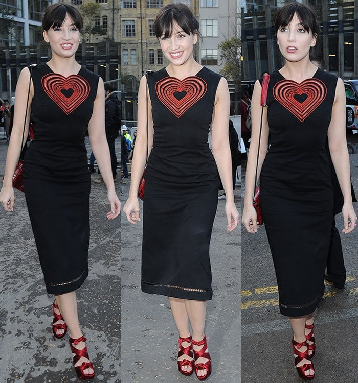 Daisy Lowe in Christopher Kane dress with a heart-shaped cutout design
