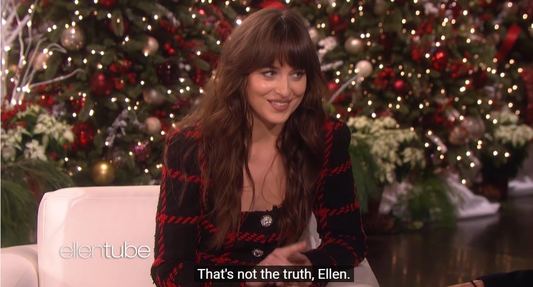 Dakota Johnson accuses Ellen DeGeneres of not telling the truth on an episode of The Ellen DeGeneres Show