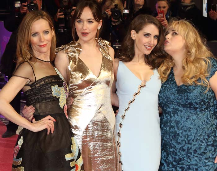Leslie Mann, Dakota Johnson, Alison Brie, and Rebel Wilson attend the European premiere of How to Be Single