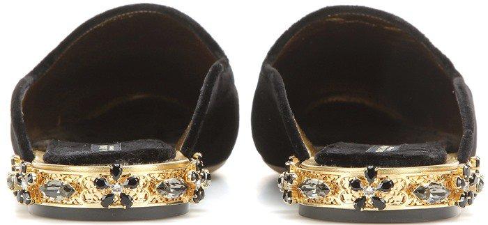 Dolce & Gabbana Embellished velvet slipper