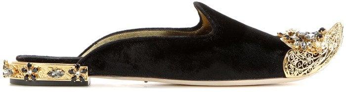 Dolce & Gabbana Embellished velvet slippers side