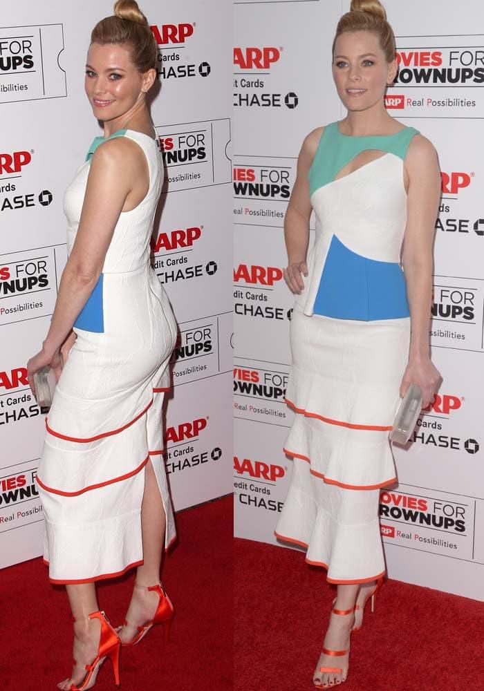 Elizabeth Banks wears a colorful Roland Mouret dress on the red carpet