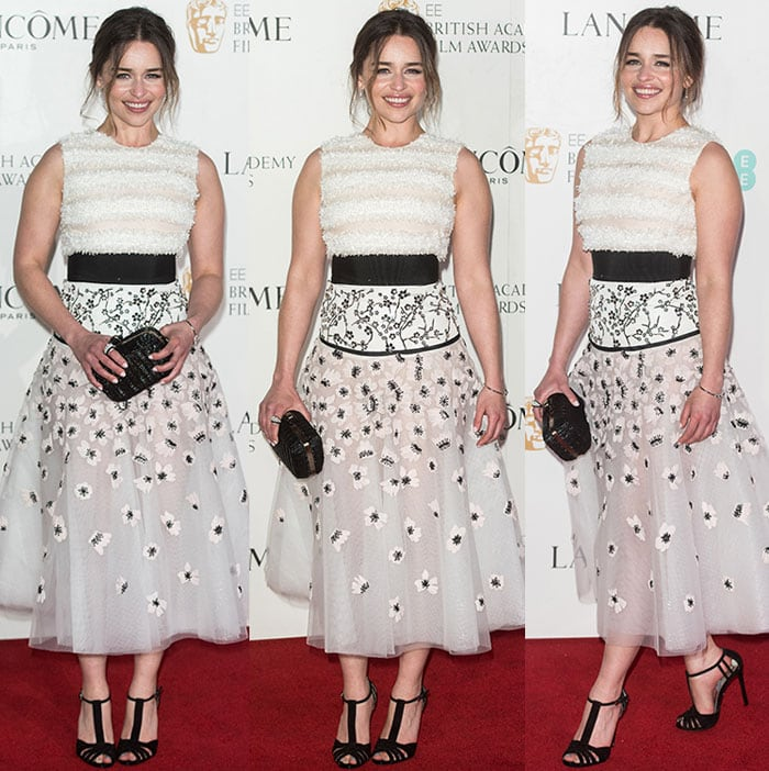 Emilia-Clarke-midi-dress-sheer-floral-skirt-wool-bodice