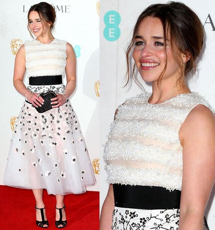 Emilia-Clarke-textured-top-floral-tulle-midi-skirt