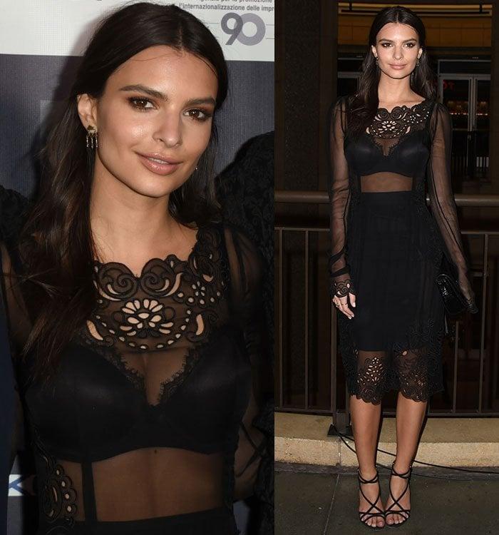 Emily-Ratajkowski-Dolce-and-Gabbana-sheer-black-dress