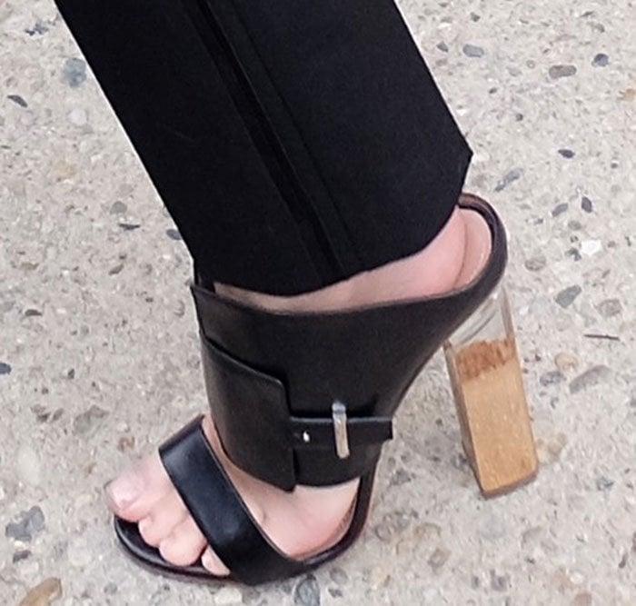 Emily Ratajkowski's feet in clear-heeled Boss sandals