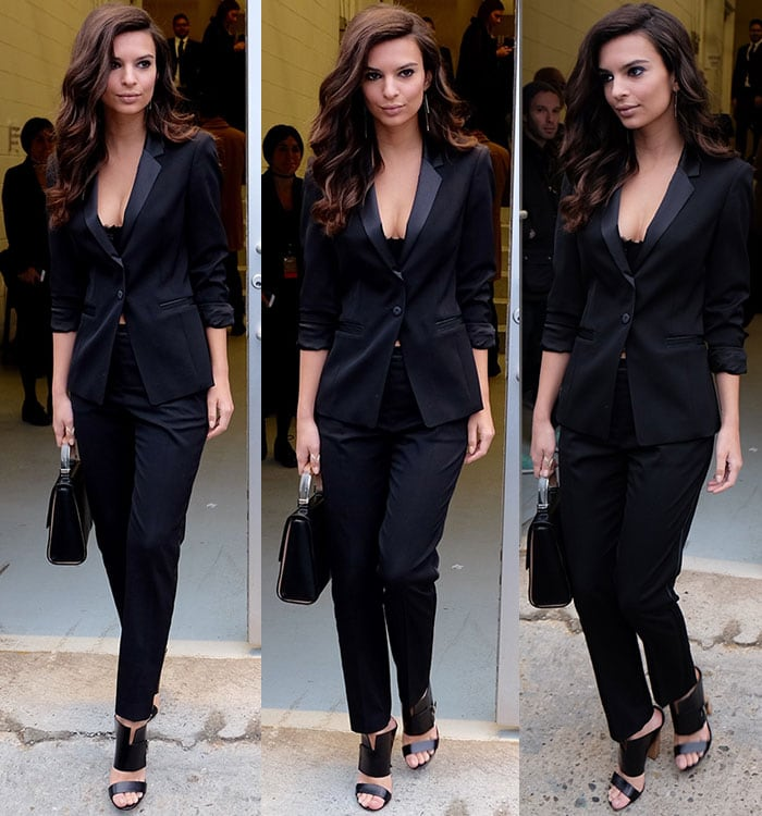 Emily Ratajkowski wears a cleavage-baring all-black suit out in New York City