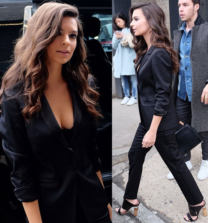 Emily Ratajkowski wears a cleavage-baring Hugo Boss suit out in New York City