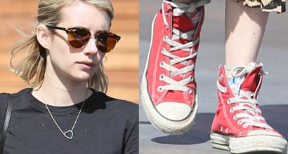 3f5f6a7b9a57 Emma Roberts Leaves Maxfield in Leopard Skirt and Chuck Taylor Converse   All-Star  Sneakers