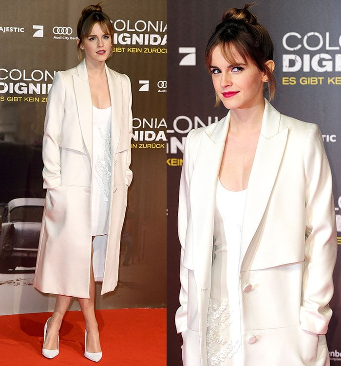 """Emma Watson wears a Maiyet dress and Behno coat at the premiere of """"Colonia Dignidad"""""""