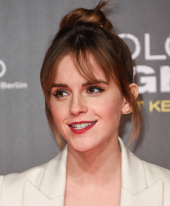 Emma Watson clips her hair up at the Berlin premiere of Colonia