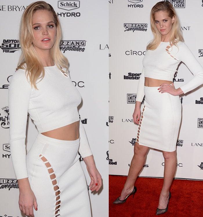 Erin-Heatherton-white-longsleeve-crop-top-cutout-skirt