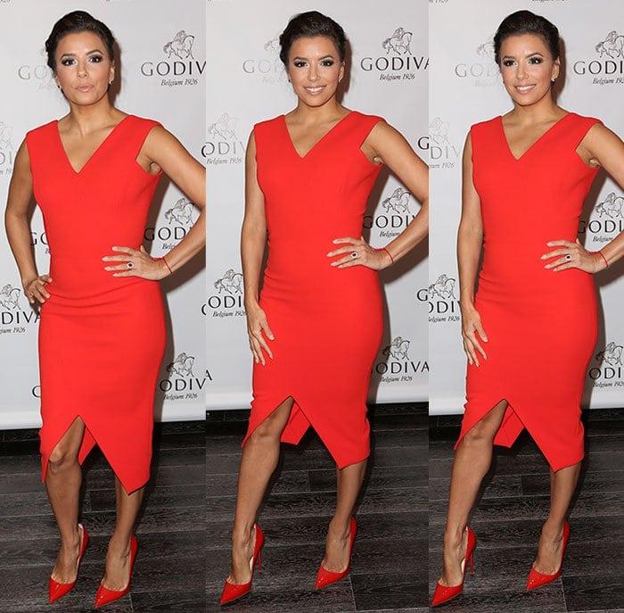 Eva-Longoria-curves-Victoria-Beckham-red-dress