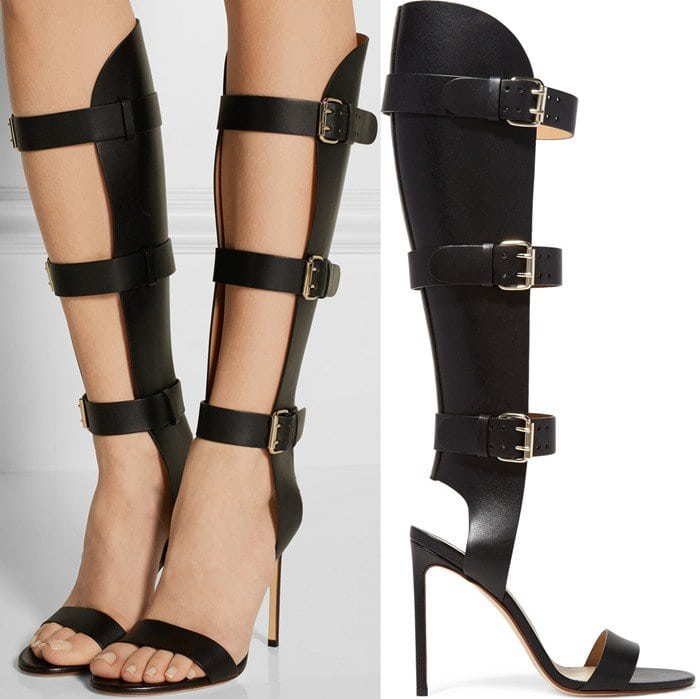 This eye-catching pair hits right below the knee and is finished with buckled straps to help you find your perfect fit