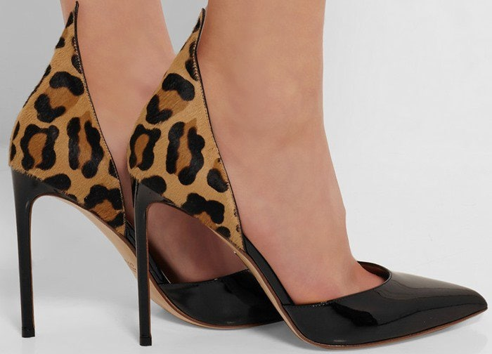 Francesco Russo D'Orsay leopard-print calf hair and patent-leather pumps