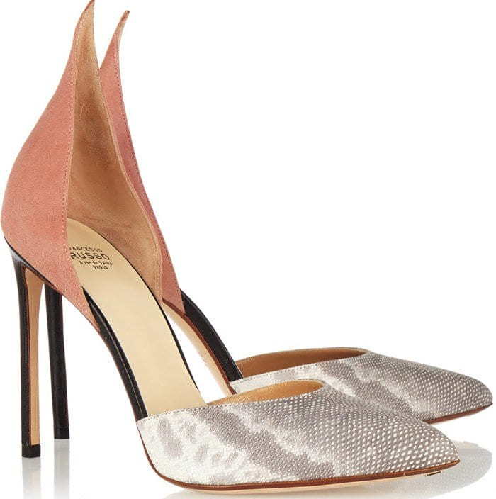 Francesco Russo D'Orsay silver leopard-print calf hair and patent-leather pump