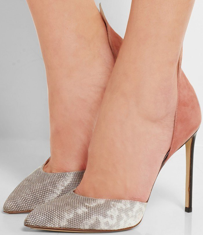 Designed with flattering d'Orsay cutouts, this pair has a dusty-pink suede pointed heel complemented by a contrasting snake toe