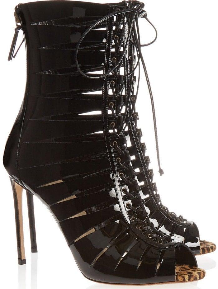 Francesco Russo Lace-up patent-leather sandal