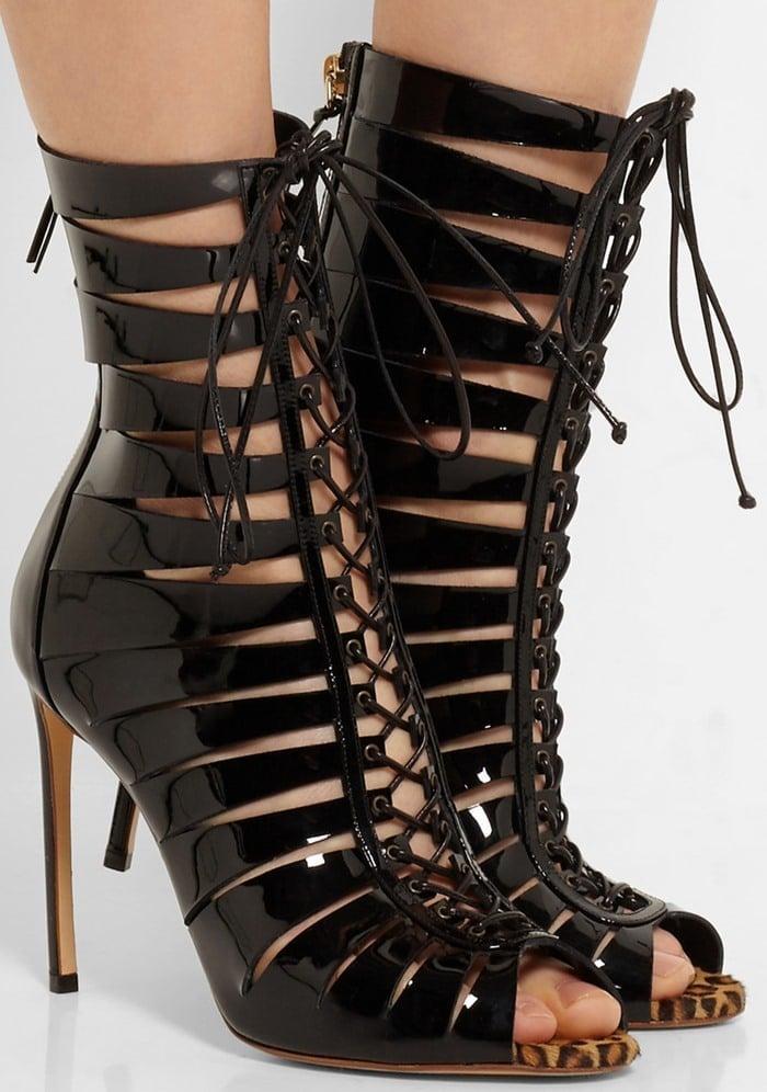 Francesco Russo lace-up patent-leather sandals