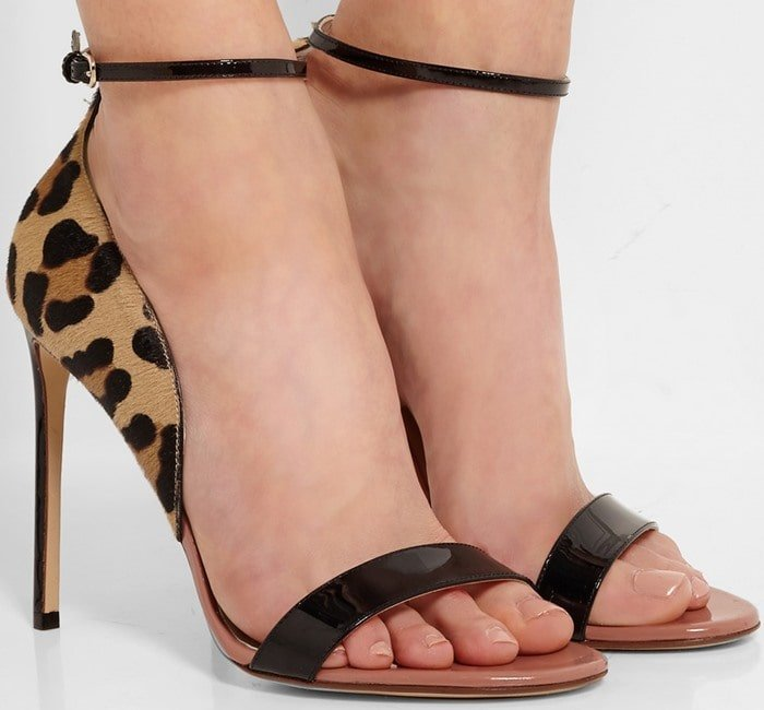 Leopard-print, calf-hair, and black patent-leather sandals finished with a flattering slim ankle strap and an antique-rose footbed