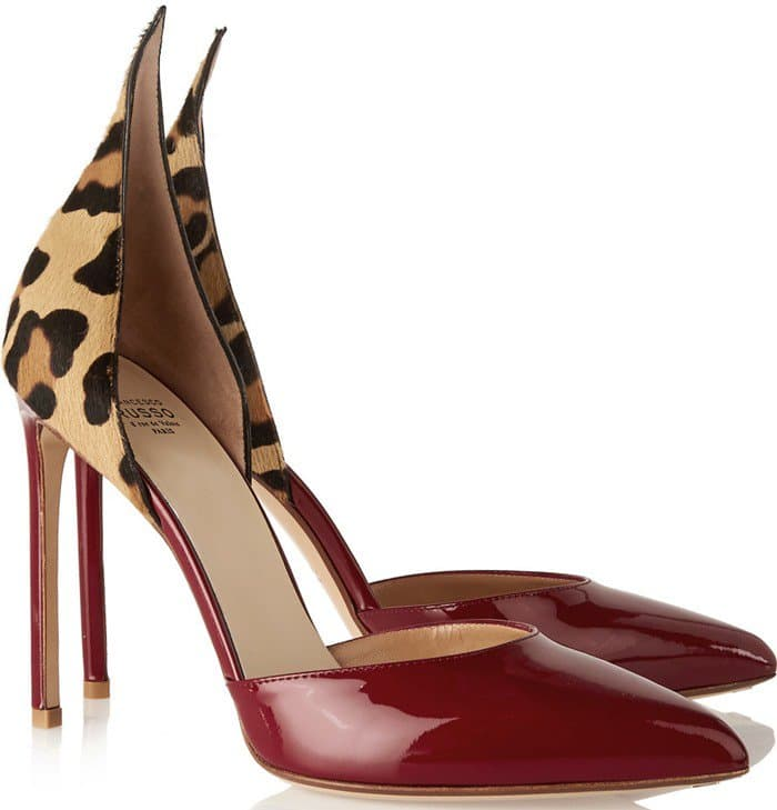 Francesco Russo red D'Orsay leopard-print calf hair and patent-leather pump
