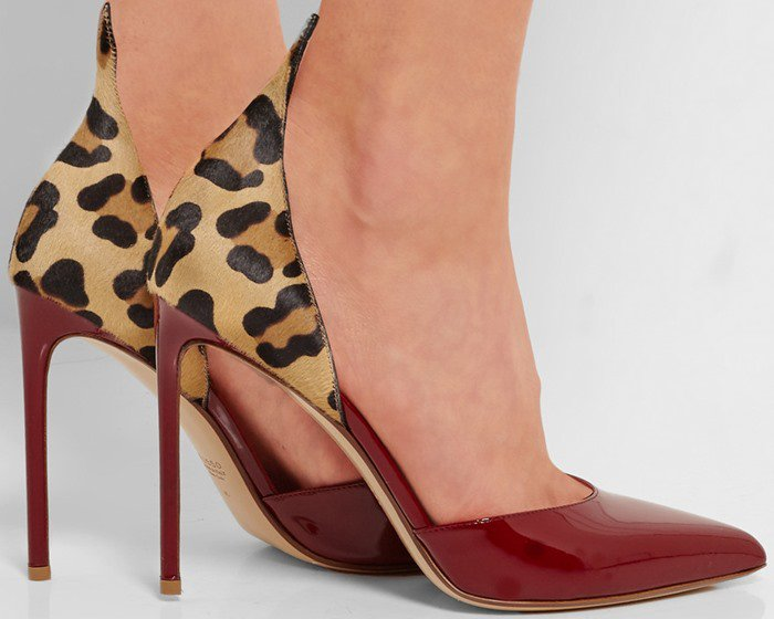 Francesco Russo red D'Orsay leopard-print calf hair and patent-leather pumps
