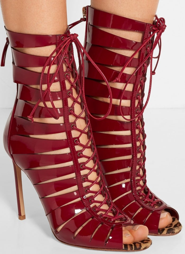 Francesco Russo red Lace-up patent-leather sandals
