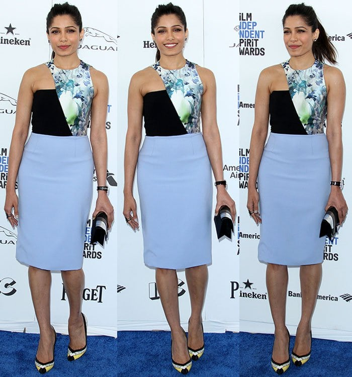 Freida Pinto wears a black and blue Bibhu Mohapatra dress to the Film Independent Spirit Awards