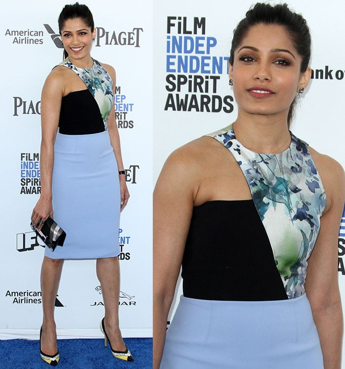 Freida Pinto wears a Bibhu Mohapatra dress on the blue carpet