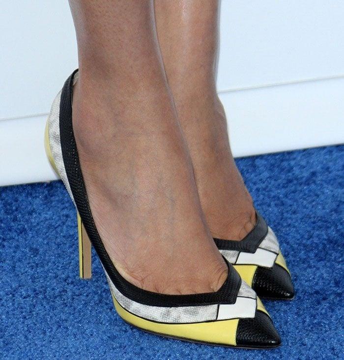 "Freida Pinto's feet in lizard-embossed leather ""Susi"" pumps"
