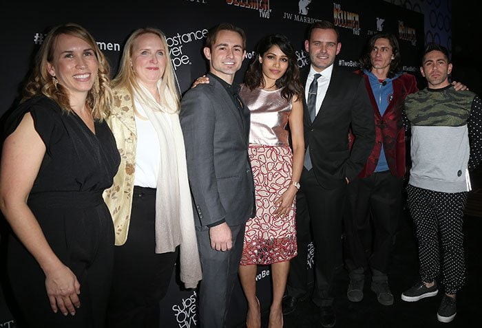 """Senior Director and Global Brand Leader for JW Marriott Hotels & Resorts Christy Donato, Global Marketing Officer for Marriott International Karin Timpone, actor Caine Sinclair, actress Freida Pinto, Vice President of Global Creative Content Marketing for Marriott International David Beebe, actor William Spencer, and director/writer Daniel Malakai Cabrera arrive at the world premiere of """"Two Bellmen Two"""""""