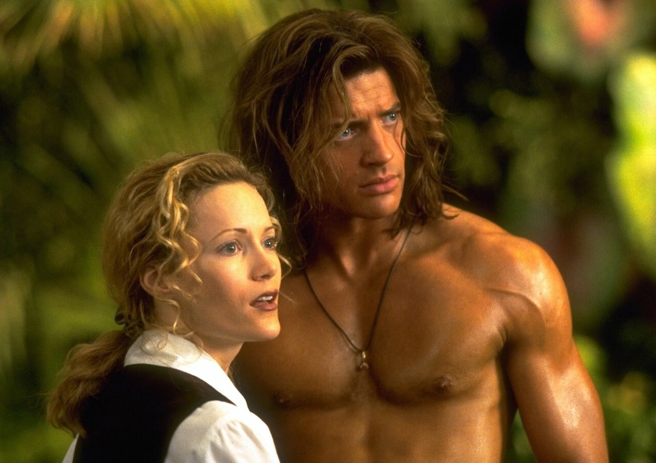 Brendan Fraser as George and Leslie Mann as Ursula Stanhope in George of the Jungle