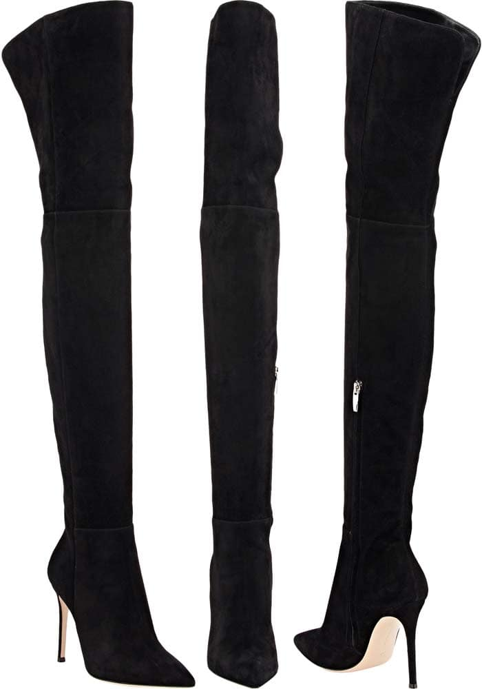 Black Gianvito Rossi Suede Over-the-Knee Boots