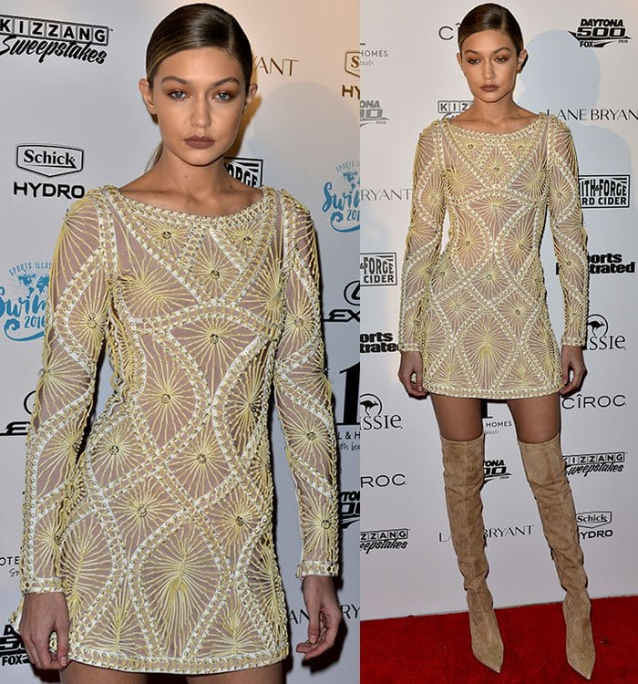 Suspected antisemite Gigi Hadid rocked a gold embroidered mini dress from the Herve Leger by Max Azria Resort 2016 collection
