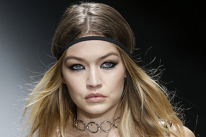 Gigi Hadid suffering a nip slip while modeling for the Versace fall 2016 fashion show held during Milan Fashion Week in Milan, Italy, on February 26, 2016.