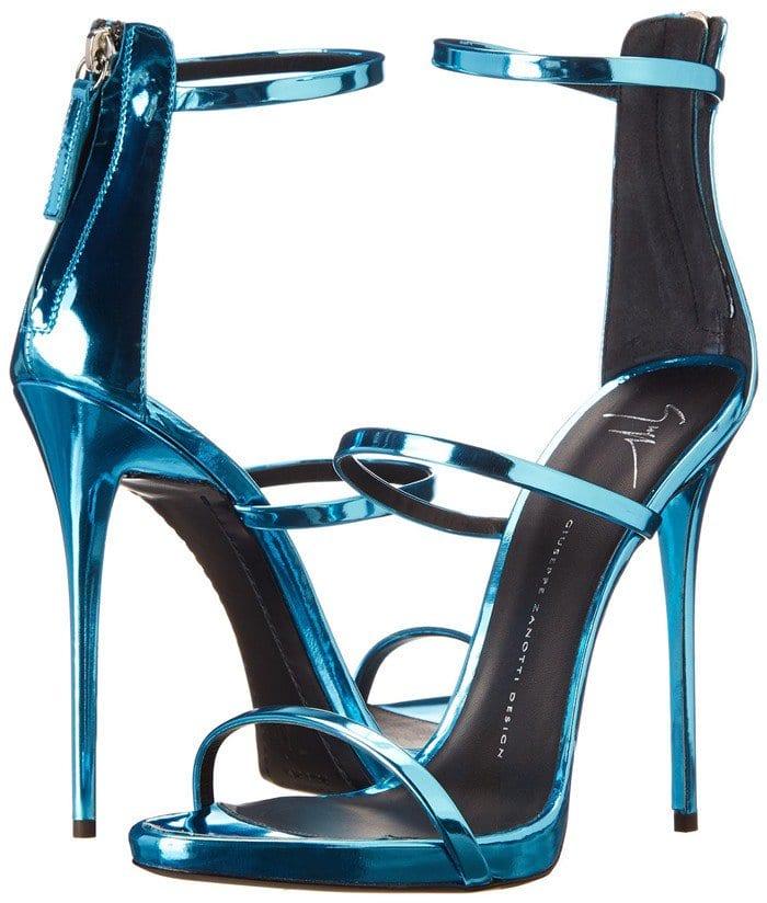 Giuseppe Zanotti Coline Turquoise Leather Three Strap Sandals