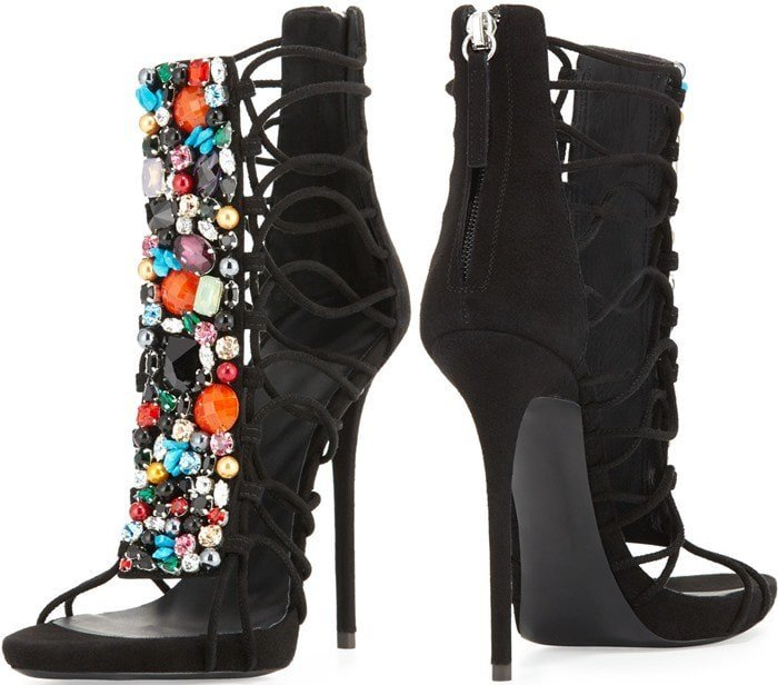 Giuseppe Zanotti Jeweled Suede T-Strap Sandal Bootie