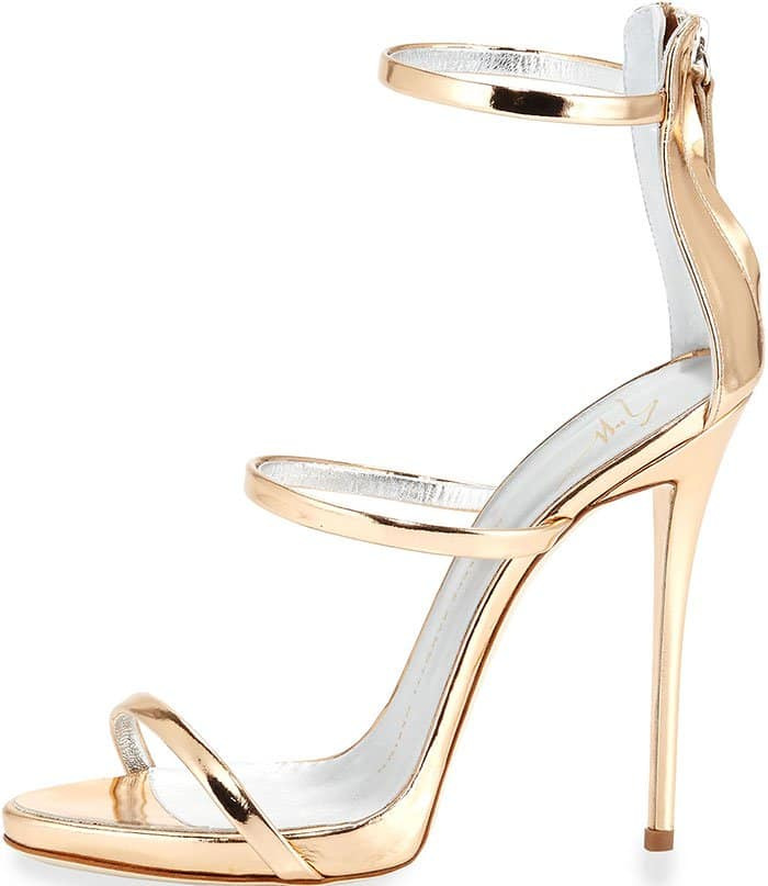 Giuseppe Zanotti Metallic Three-Strap Evening Sandals